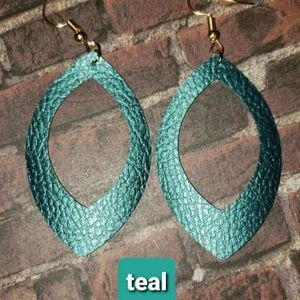Handmade faux leather earrings TEAL COLOR
